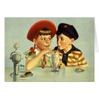 Cartes Enfants vintages, garçon et fille partageant une