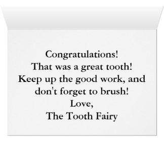 Cartes Envoyez une note spéciale de la fée de dent !