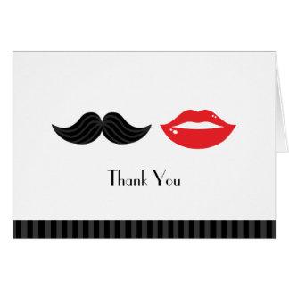 Cartes Épouser rouge, noir et blanc de moustache et de