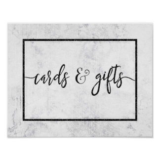 Cartes et cadeaux de mariage de marbre blancs et poster