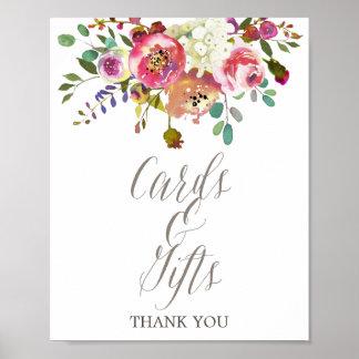 Cartes et cadeaux floraux simples de bouquet poster