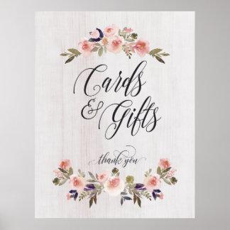Cartes et mariage d'affiche de signe de cadeaux posters