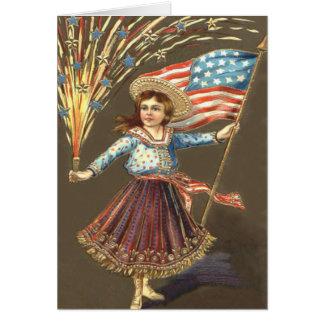 Cartes Étoile de drapeau des USA de fille de pétard de