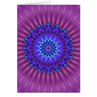 Cartes Étoile de mandala en fleur magenta du bleu |