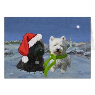 Cartes Étoile de Scottie et de Noël de Westie