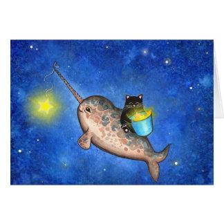 Cartes Étoiles accrochantes avec un Narwhal amical