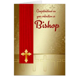 Cartes Évêque Ordination In Red et or de félicitations