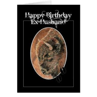 Cartes Ex-mari drôle d'anniversaire, bison, animaux de