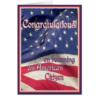 Cartes Félicitation-Nouveau citoyen américain+Drapeau