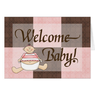 Cartes Félicitations bienvenues de rose et de bébé de