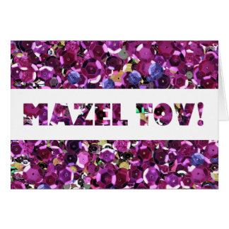 Cartes Félicitations roses de Mazel Tov de paillettes