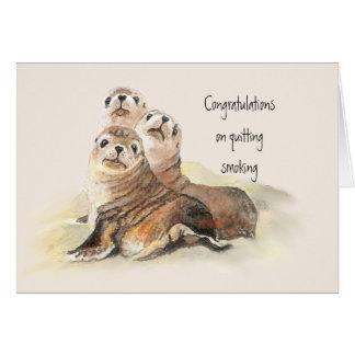 Cartes Félicitations stoppant fumant les joints mignons