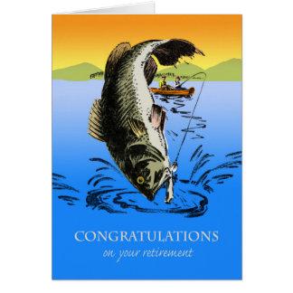 Cartes Félicitations sur la retraite, pêche vintage