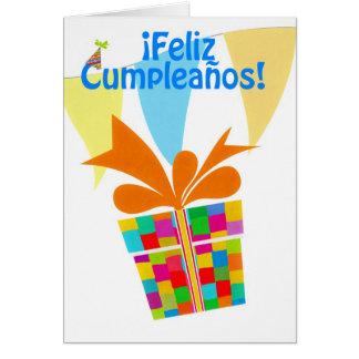Cartes ¡ Feliz Cumpleaños avec le paquet de cadeau,