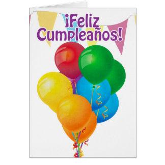 Cartes ¡ Feliz Cumpleaños avec les ballons et l'étamine