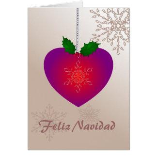 Cartes Feliz Navidad, flocons de neige de la forme n de