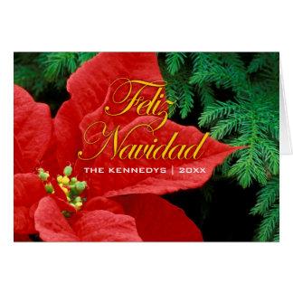 Cartes Feliz Navidad - la poinsettia et le sapin rouges