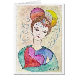 Cartes Femme créative - copie de mon illustration