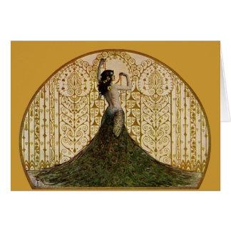 Cartes Femme dans une jupe de paon