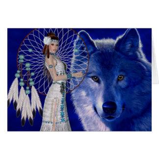 Cartes Femme de Natif américain et conception bleue de