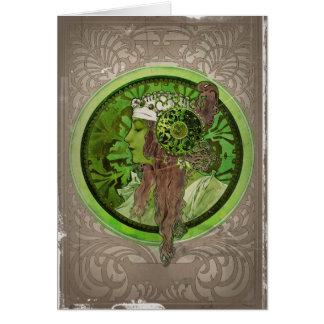 Cartes Femme en vert - LAURIER