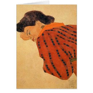Cartes Femme étendue d'Egon Schiele- avec le chemisier