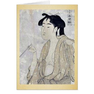Cartes Femme fumant un tuyau par Kitagawa, Utamaro Ukiyoe