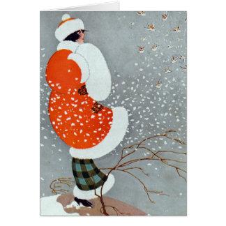 Cartes Femme vintage de Noël dans la neige