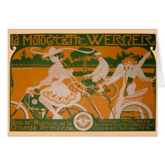 Cartes Femme vintage faisant un cycle avec le cupidon