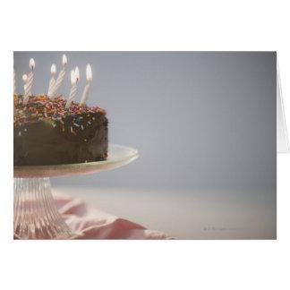 Cartes Fermez-vous du gâteau d'anniversaire de chocolat