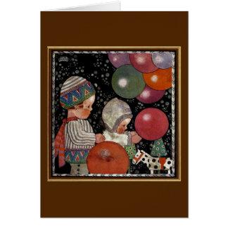 Cartes Fête d'anniversaire, ballons et jouets vintage