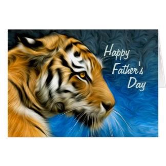 Cartes Fête des pères de peinture d'art de tigre