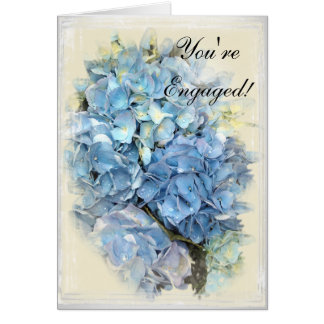 Cartes Fiançailles bleu de fleur d'hortensia