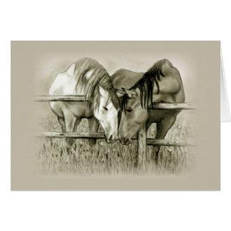 Cartes Fiançailles : Pâturage de part d'amants de cheval,