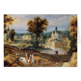 Cartes Figures dans un paysage avec le bey de village et