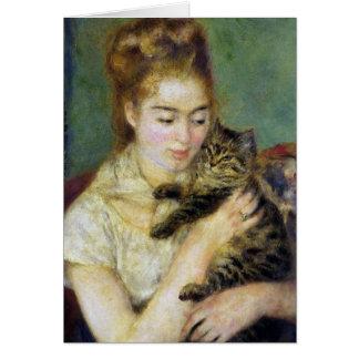 Cartes Fille avec le chat par Renoir