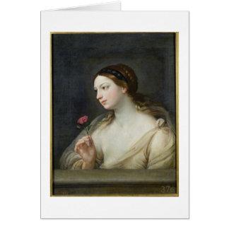 Cartes Fille avec un rose (huile sur la toile)