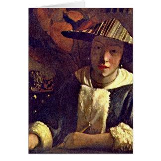 Cartes Fille avec une cannelure par Johannes Vermeer