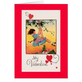 Cartes Fille balançant Valentine
