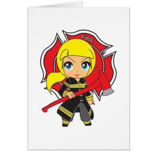 Cartes Fille blonde de sapeur-pompier de Kawaii