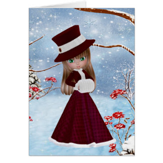 Cartes Fille blonde, Noël, neige