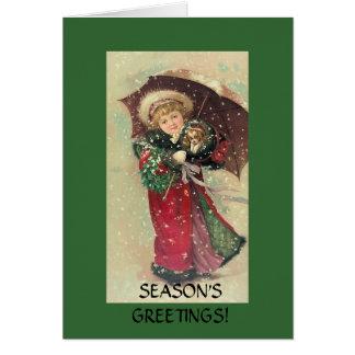 Cartes Fille de Noël avec le chiot cavalier