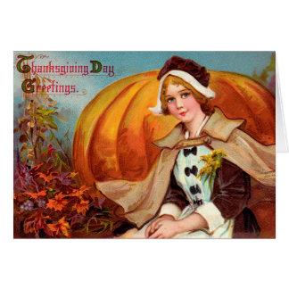Cartes Fille de pèlerin de thanksgiving avec le