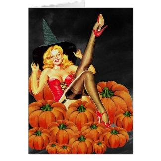 Cartes Fille de Pin- de Halloween sur des citrouilles