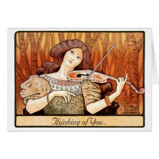 Cartes Fille de violon de Nouveau d'art