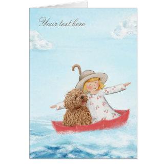 Cartes Fille et chien avec le parapluie à la mer