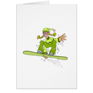 Cartes Fille olive de surf des neiges