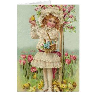 Cartes Fille vintage de Pâques