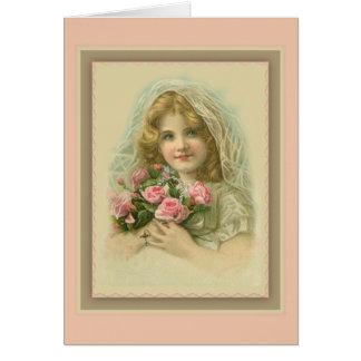 Cartes Fille voilée par cru avec les roses et le chapelet