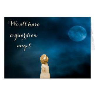 Cartes Filles d'ange gardien observant une pleine lune